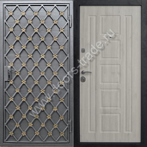 железные двери с порошковым напылением и декором